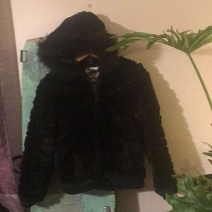 Justice faux fur jacket with hood